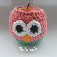 Owl Apple Cosy Crochet Cozy Jacket Pink and Green