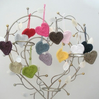 10 Crochet Hearts Applique Embellishment Tags