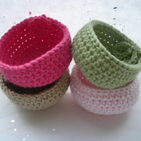 Small Crochet Bowl Pot or Basket (you choose your colour)