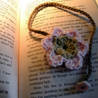 Crochet Flower Bookmark in Pink and Linen Colours