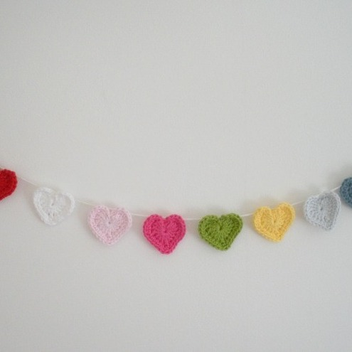 Crochet Heart Garland  Choose Your Own Colours