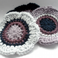 Crochet Flower Motif Embellishments in Vintage Style Shades
