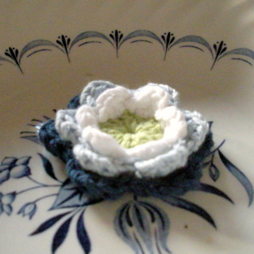 Crochet Applique Flower in Shades of Blues Green and White