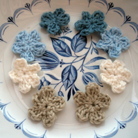 12 Mini Crochet Applique Flowers in Blues