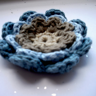 Large Crochet Cotton Blue and Linen Colour 3 Layer Applique Flower