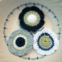 Crochet Applique Flowers in Blues Green and White