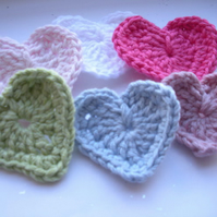 Set of Crochet Applique Cotton Hearts in Pastel Colours