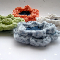 4 Crochet Applique Cotton Summer Flowers