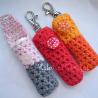Crochet Lip Balm Holder Keyring or Lipstick