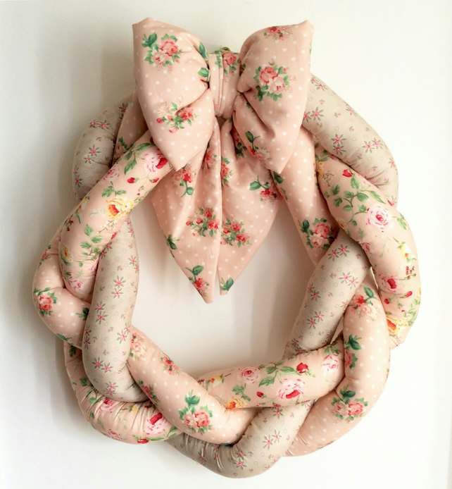Floral fabric wreath
