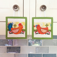 Applique Rooster and Hen (pair)