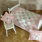 1:12 scale Single Bed Quilt (pink) with 2 cushions