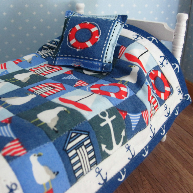 1:12 scale Single Bed Quilt (nautical) with 1 cushion