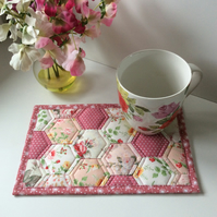 Mug rug (pink). Perfect for Mother's Day