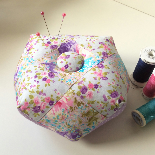 Weighted biscornu pin cushion (purple,pink)