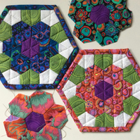 Hexagon flower mug rugs.coasters (x2)