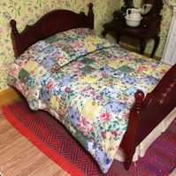 Miniature patchwork double bed quilt