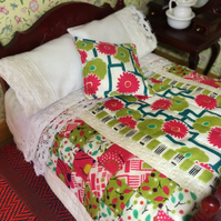 Miniature 1:12 double bed quilt set