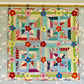 Scrappy patchwork quilt with appliqué flowers