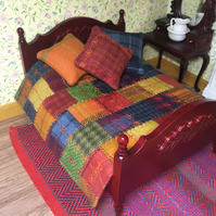 Miniature patchwork quilt with 3 cushions