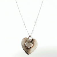 Hand Forged Sterling Silver Heart Pendant Necklace