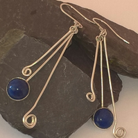 Swirl drop Lapis Luzuli  Earrings