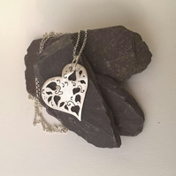 Long Cutout Heart Pendant
