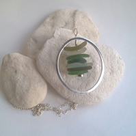 Encircled Seaglass Stack Pendant