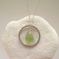 Peridot and Silver Hoop Necklace