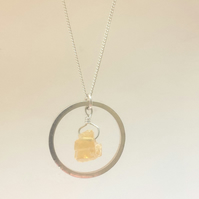 Citrine and Silver Hoop Necklace
