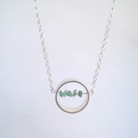 Emerald & Silver Ring Necklace