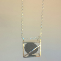 Pebble in a Silver Box Necklace