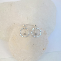 Raw Diamond and Silver Earrings