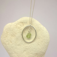 Peridot and Silver Oval Hoop Necklace
