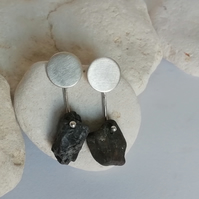 Silver Disc and Beach Pebble earrings