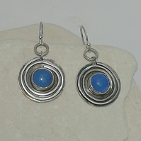 Whirly Silver and Blue Agate Earrings