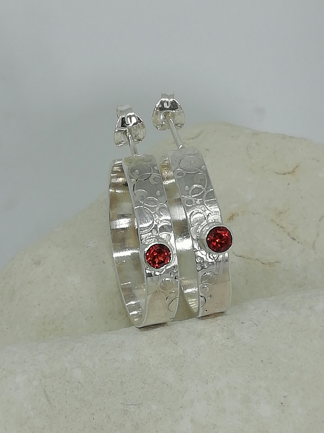 Textured Silver Hoops with Garnets