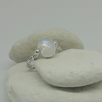 Moonstone and Twisted Silver Ring