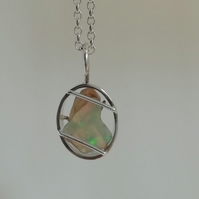 Raw Opal in an Oval Necklace
