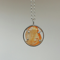 Polished Citrine in an Oval with Ball Clasps Necklace