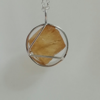 Raw Citrine in a Circle Necklace