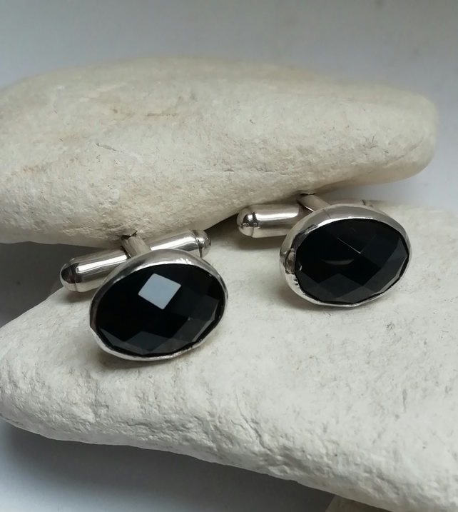 Facet Cut Black Onyx Cufflinks