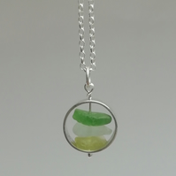 Trio of Sea Glass in a Ring Necklace