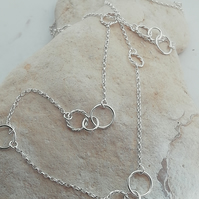 Long Silver Chain Necklace with Twisted Silver Rings