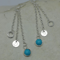 Trio of Circles Turquoise Earrings