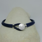 Blue Leather Bracelet with Silver Button