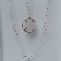 Rose Quartz Oval Ball Clasp Necklace