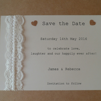 Pretty Pearl Lace Save the Date Card - Sample