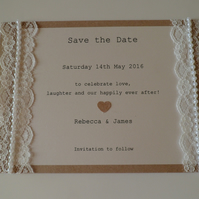 Stunning Ivory Pearl Lace Save the Date Card - Sample