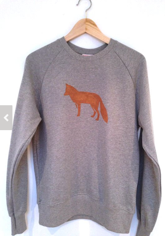 Fox Sweatshirt - unisex low carbon, organic cotton, fairly traded, eco friendly